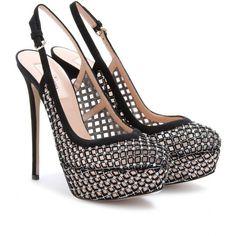 Valentino Carol Crystal Embellished Suede And Mesh Sling-Backs ($1,030) ❤ liked on Polyvore