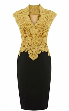 Gold Color | Purple and gold color Pencil Dress with hollow French Lace DN038 Women ...