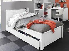 Lit gigogne 90x190 cm CAPTAIN coloris blanc Vente de Lit enfant