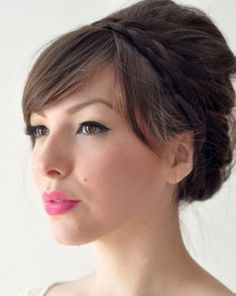 Beautiful updo with braided crown and fringe