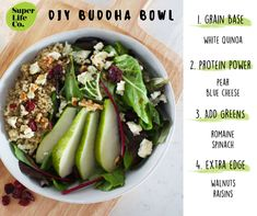 We love making a good ol' Buddha Bowl! Here's an easy guide to help you make your own ~ White Quinoa, Protein Power, Buddha Bowl, Good Ol, Blue Cheese, Raisin, Cobb Salad, Spinach, Yummy Food