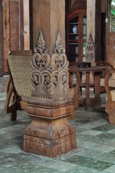 17 best images about javanese home and architectural on Temple Architecture, Architecture Details, Chettinad House, Wooden Columns, Pillar Design, Wood Carving Designs, Wood Carving Art, Village House Design, Pooja Room Design