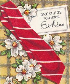 A sweet, eye-catching dogwood filled vintage masculine birthday card. #guys #masculine #vintage #birthday #card