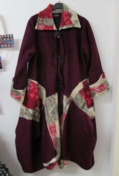 Sarah Santos Lagenlook Wool Winter Coat Wine Red Beige