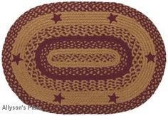 Star Wine Rugs Braided Oval BR-195 / Like us on Facebook! www.facebook.com/allysonsplacedecor / #Primitive / #Country