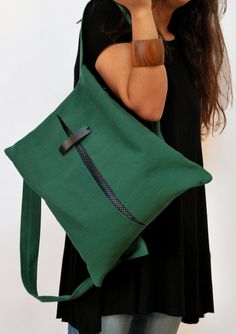 Backpack-Messenger bag/ Canvas-Cotton bag/ by misirlouHandmade