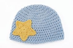Baby Blue Crochet Hat with Yellow Star by lauraanncrochet, $8.00
