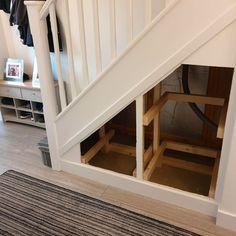 Staircase Storage, Hallway Storage, Stair Storage, Staircase Design, Built In Storage, Basement Staircase, Staircase Remodel, Loft Stairs, Basement Storage