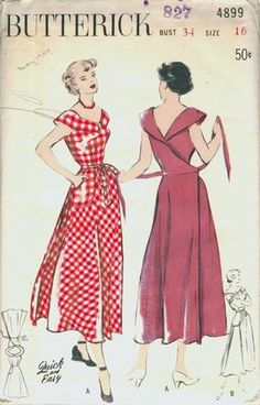"Butterick ca. early One-Piece Dress: Wrap-Around Back. Wrap-around dress is ""Quick. Motif Vintage, Vintage Dress Patterns, Clothing Patterns, Skirt Patterns, Coat Patterns, Blouse Patterns, Retro Fashion, Vintage Fashion, Patron Vintage"