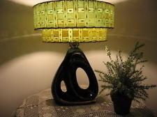 Vintage Mid-Century Ceramic Table Lamp & Fiberglass Two Tier Shade