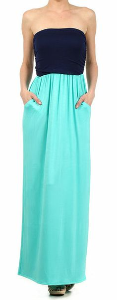 Mint  Navy Strapless Maxi Dress