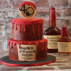 Maker's Mark Cake, Birthday Cake, Groom's Cake, Cakes by Camille Birthday Cake Maker, 60th Birthday Cake For Men, 50th Birthday Party Ideas For Men, Adult Birthday Party, 40th Birthday Parties, 30 Cake, Bottle Cake, Homemade Sweets, Cake Makers