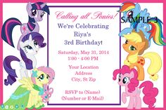My Little Pony Birthday Invitation. Click on the image twice to place orders or follow me on facebook. or email me at the address in BIO.