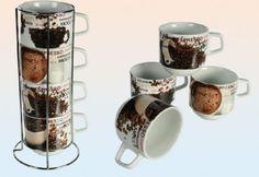 Kaffeebecher stapelbar mit Kaffeebohnen Dekor 250 ml 4-fach sortiert im Metallständer