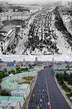 Moscow then and now – in pictures | World news | The Guardian Russian Architecture, Sacred Architecture, Then And Now Pictures, Moscow Kremlin, War Photography, San Fransisco, Imperial Russia, World History, The Guardian