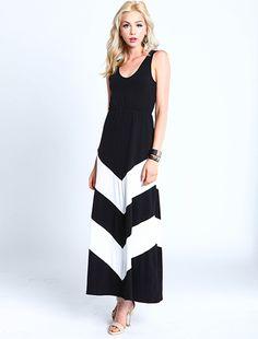 White Chevron Maxi Dress