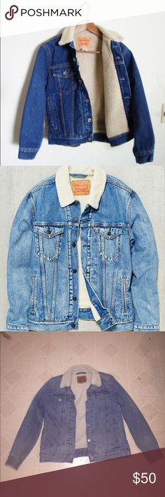 Levis Strauss & Co. jean jacket faux sheepskin Really nice condition brand new barely used super warm about a size m or a s good denim. Jean jacket faux sheepskin. I negotiate. Would look good on male or female Levi's Jackets & Coats Jean Jackets
