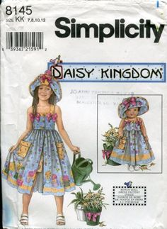 "Simplicity Daisy Kingdom Pattern 8145 / 0678 ~ Girls' Sundress, Shorts, Hat, Doll Clothes for 18"" Doll"