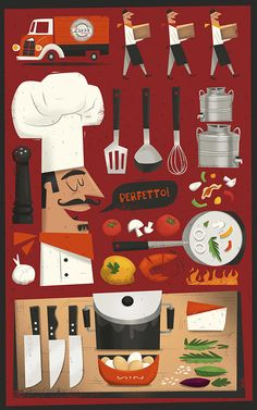 Illustrated Restaurant Menu by Peter Donnelly, via Behance