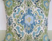 Duralee Ikat Pillow Cover--Accent Pillow-- Aqua, Green,  Blue, Cream Designer Fabric--Throw Pillow Cover