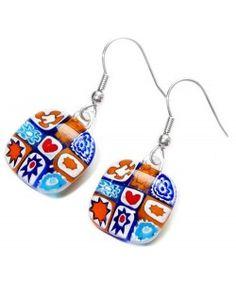Handgemaakte oorbellen van oranje en blauw millefiori glas!