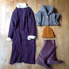 stripes, cable vest, boots