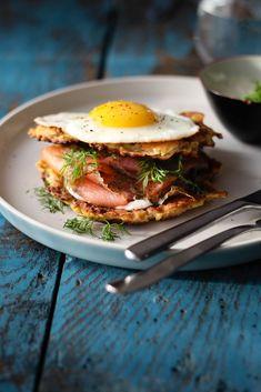 Hashbrowns with Salmon and Mustard Yogurt Dressing Recipe