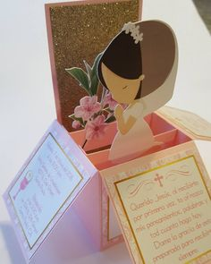 Created this cute and darlig pop up style sample invitation for a First Communion  #invitationsbymarisol  #invitations  #invites  #handmadeinvitations  #handcraftedinvitations  # first #firstcommunion  #communion  #firstcommunioninvitations #baptisminvitations #baptism #baptisminvitations  #invitations #pinkinvitations #christening #christening #christeninginvitations #popupinvitations  #invitationsinabox