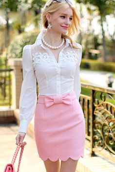 Slim White Patchwork Lace Flower Long Sleeve Shirt