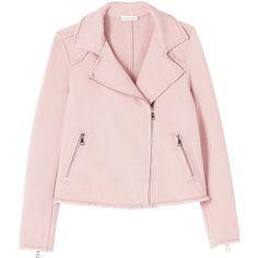Cozy Knit Moto Jacket ($139) ❤ liked on Polyvore featuring outerwear, jackets, rider jacket, pink jacket, slim motorcycle jacket, biker jacket and slim fit biker jacket