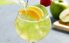 Green Apple Mascato Sangria  A blend of chilled moscato, granny smith green apple and a splash of pineapple juice.