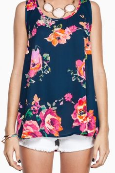Navy Floral Tank Top