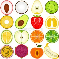 Fresh, Cute Vegetable, fruit cut in half (vector Icons) Set#5 Royalty Free Stock Vector Art Illustration