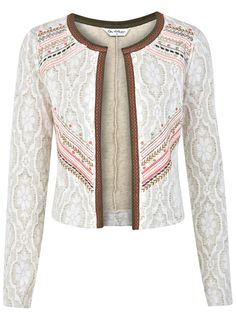 Embroided Jacquard Jacket - Coats & Jackets - Clothing - Miss Selfridge