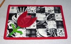 like the back ground with other types of applique, mug rug swap by erika4303, via Flickr
