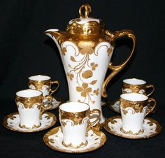 122312: J & R LIMOGES PORCELAIN CHOCOLATE SET, 13 PCS : Lot 122312