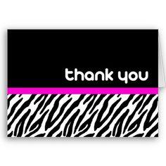 Pink and zebra templates free elegant zebra print custom place fun zebra print thank you cards from httpzazzle reheart Images