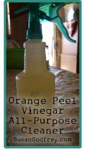 Non-toxic all purpose cleaner using vinegar, orange peel, and water.
