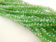 Cristal checo 4 mm, color verde bandera, tira con 150 piezas, $22.00, Precio especial a mayoristas. CÓDIGO: CC4038