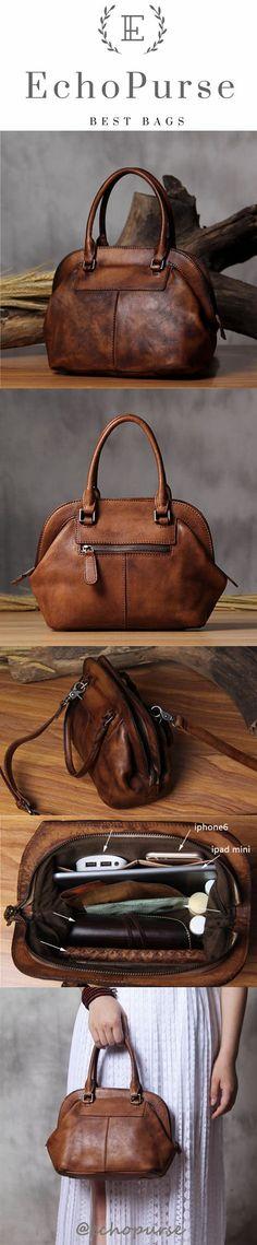 Vintage Leather Handbags, Satchel Bag, Women Purse, Chic Shell Bag YS98