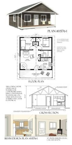 Tiny House Floor Plans Fresh 1 Lakeside Cottage 24 X 30 Behm Garage Plansbehm Tiny House Cabin, Tiny House Living, Tiny House Design, Cottage Design, The Plan, How To Plan, Small House Floor Plans, Small House Plans Under 1000 Sq Ft, Small Home Plans