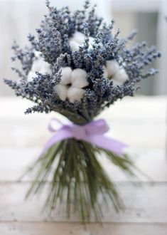 Lavender and cotton bouquet Lavender Bouquet, Lavender Flowers, Beautiful Flowers, Cotton Bouquet, Hand Bouquet, Diy Wedding Decorations, Flower Decorations, Bride Flowers, Wedding Flowers