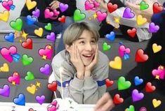 NCT Jaemin + hearts just bc he makes me 💘💓💝💕💗💞 Meme Pictures, Reaction Pictures, Meme Faces, Funny Faces, Love In Korean, Heart Meme, Kim Jung Woo, Heart Emoji, Cute Love Memes