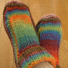 If you're looking for a simple, non-felted slippers pattern, look no further than the one designed by Yuko Nakamura. The end product is a nice, comfy treat for your feet.