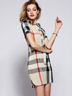 Beige Plaid Check Lapel Drawstring Short Sleeve A Line Dress Beige Dresses, Day Dresses, Short Sleeve Dresses, Dresses For Work, Burberry Dress, Check Dress, Dress P, Autumn Fashion, Clothes