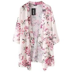 Feitong Women Boho Printed Chiffon Shawl Kimono Cardigan Tops Cover up... (€6,64) ❤ liked on Polyvore featuring tops, blouses, chiffon kimono, boho style tops, pink top, chiffon tops and kimono blouse