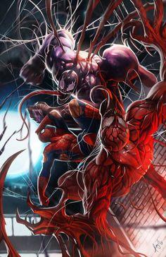 Spiderman Vs. Venom And Carnage 11x17 Digital Print by PROSSCOMICS