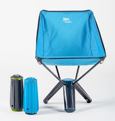 Treo Chair.  The Treo Chair from Therm-a-Rest can support up to 250 pounds but collapses down to just 13-inches for easy packing & portability. It features an easy-set-up tripod design that folds into a tube shape that will fit perfectly in the side pocket of your pack. $100