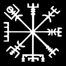 "A Vegvísir (Icelandic 'sign post') is an Icelandic magic sign or magical stave intended to help one find their way through rough weather. ""If this sign is carried, one will never lose one's way in storms or bad weather, even when the way is not known""."