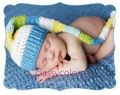 BOY STRIPED ELF  crochet baby boy elf hat in size by ClassyColors, $20.00